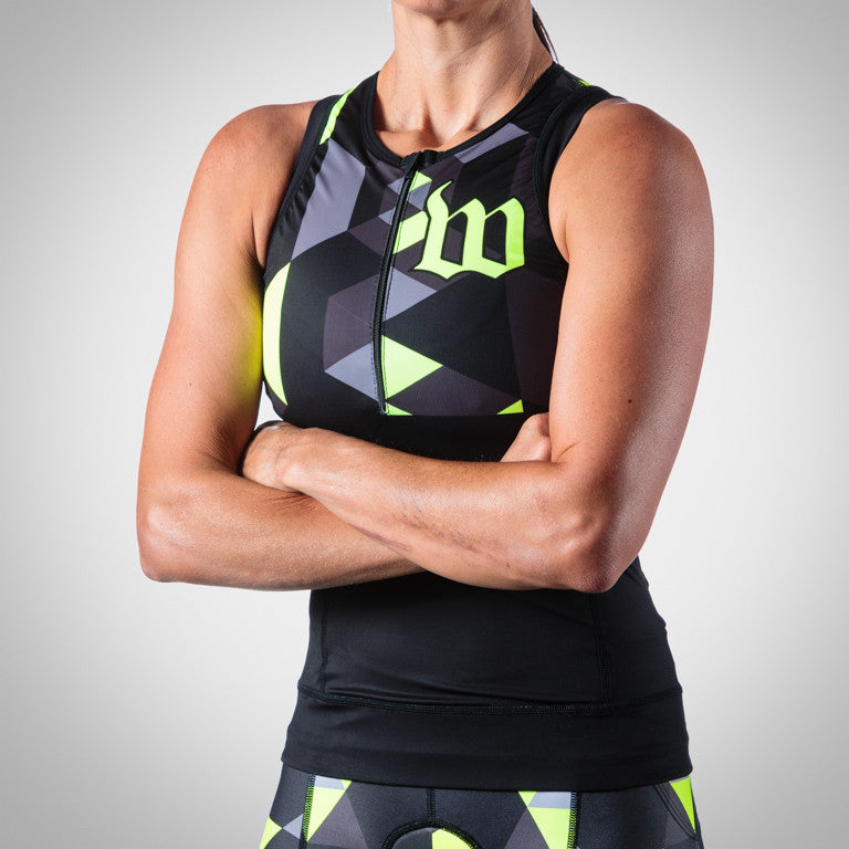Women's Spectrum Collection Neon Yellow Aero Triathlon Top