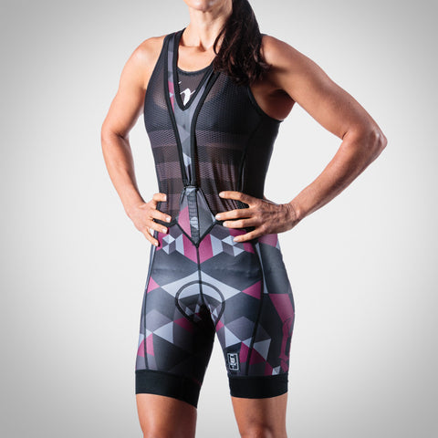 WOMEN'S SPECTRUM COLLECTION MAROON AERO BIB SHORT