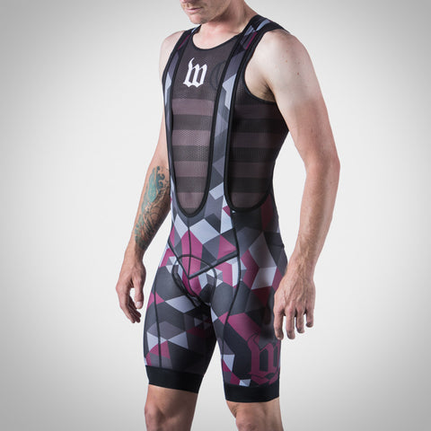 MEN'S SPECTRUM MAROON BIB SHORT