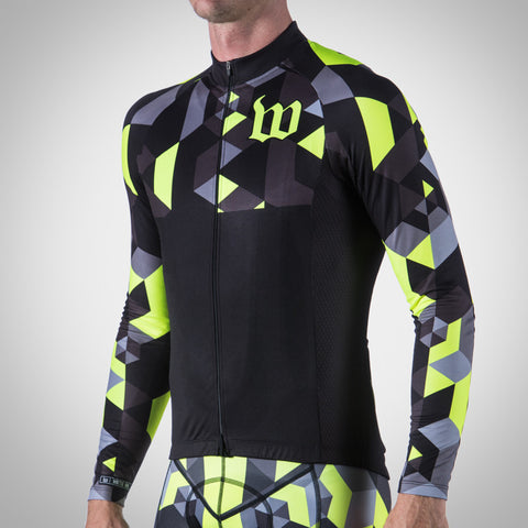 MEN'S SPECTRUM COLLECTION NEON YELLOW THERMAL LONG SLEEVE TRIATHLON JERSEY