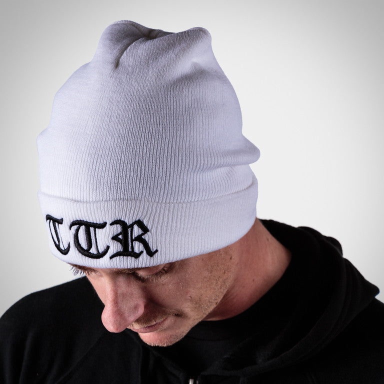 White TTR (Time To Rock) Cuffed Running Beanie