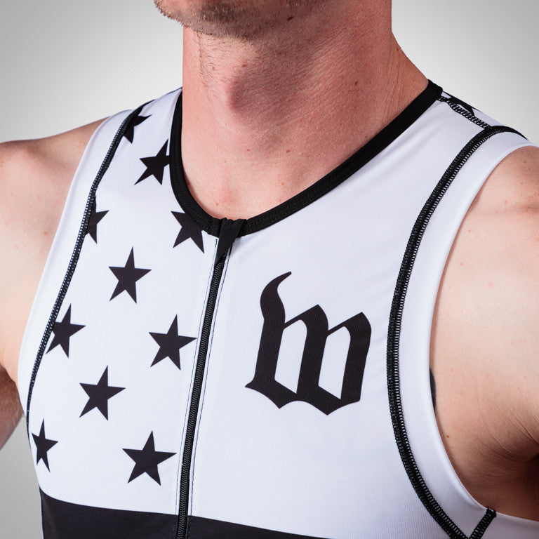 Men's White Patriot Tri Top
