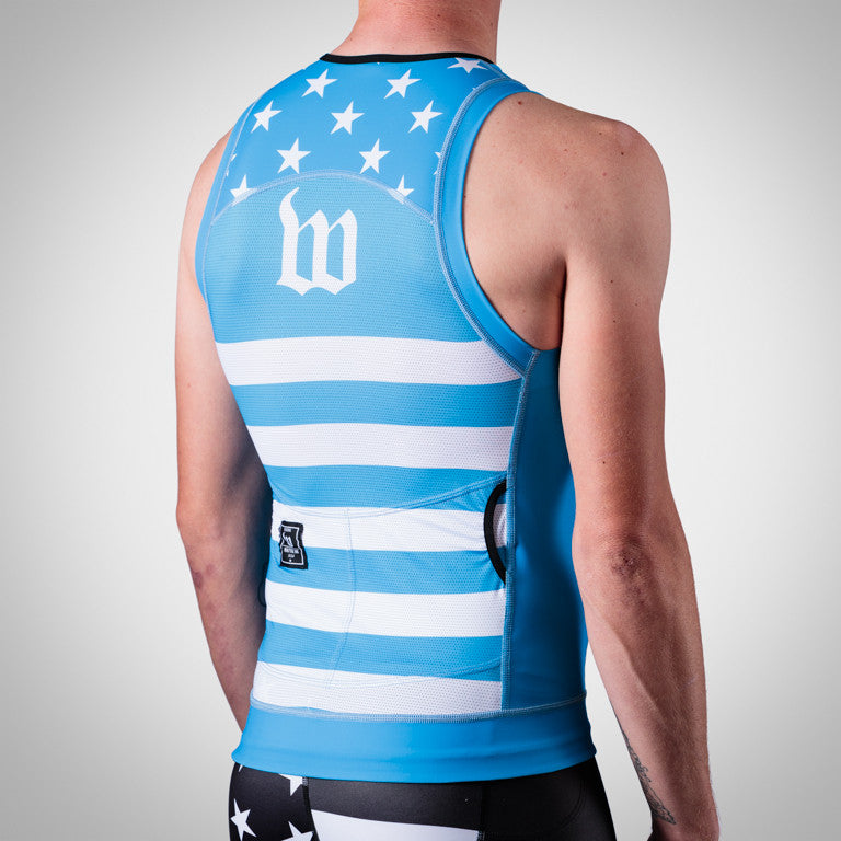 Men's Blue Patriot Tri Top