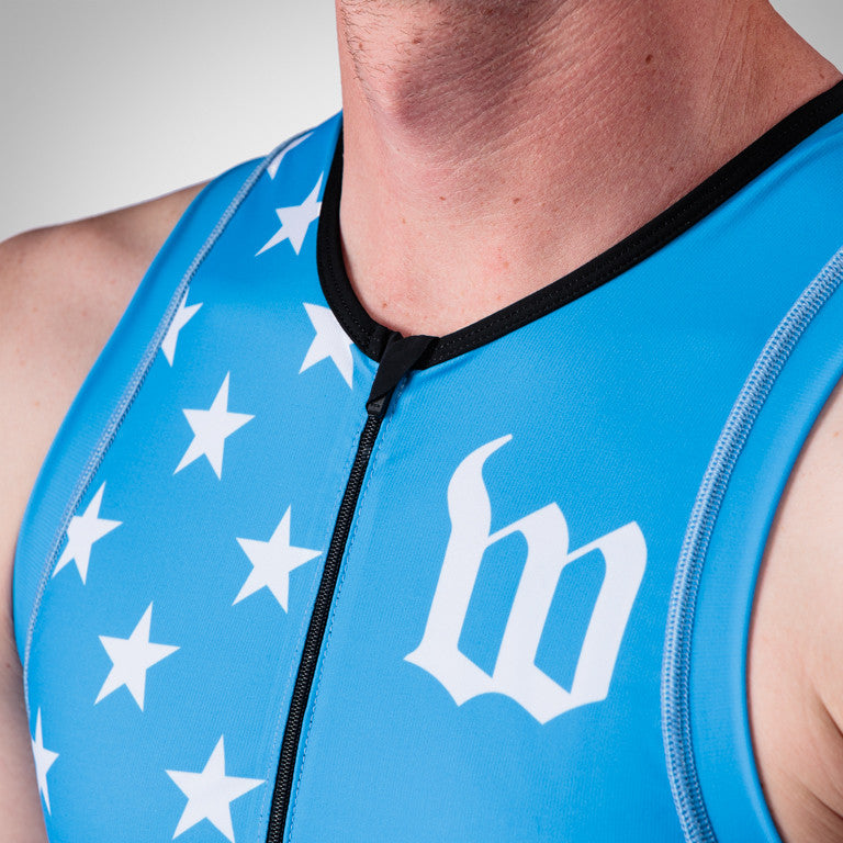 Men's Blue Patriot Collection Aero Triathlon Top