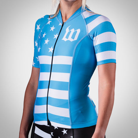 Women's Blue Patriot Cycling Jersey