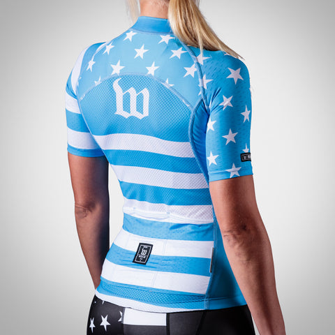 Women's Blue Patriot Cycling Jersey-hover