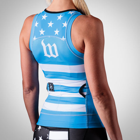 Women's Blue Patriot Tri Top-hover