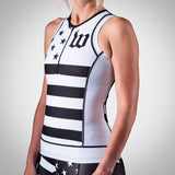 Women's White Patriot Collection Aero Triathlon Top
