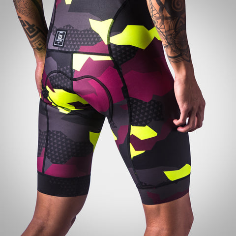 Men's Urban Assault Bib Short - Maroon/Flo Yellow-hover