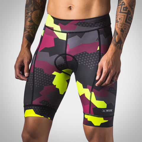 Men's Urban Assault Aero Triathlon Short - Maroon/Flo Yellow