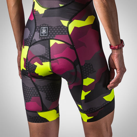 Women's Urban Assault Aero Cycling Bib Short - Maroon/Flo Yellow