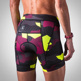 Women's Urban Assault Aero Triathlon Short - Maroon/Flo Yellow