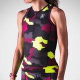 Women's Urban Assault Aero Triathlon Top - Maroon/Flo Yellow