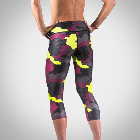 Women's Urban Assault Tights - Maroon/Flo Yellow