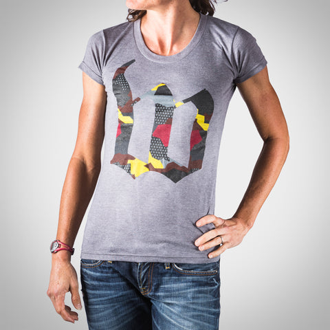 Women's Urban Assault Tee - Maroon/Yellow