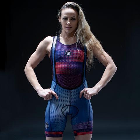 Women's Pixel Blue Contender Cycling Bib Short