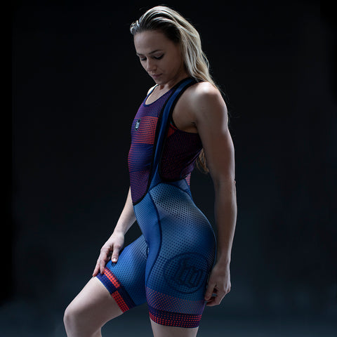 Women's Pixel Blue Contender Cycling Bib Short-hover