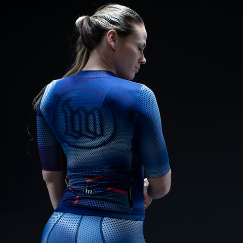 Women's Pixel Blue Contender 2.0 SS Cycling Jersey-hover