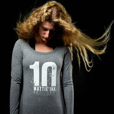 Women's Long Sleeve Tri-Blend Distressed 10