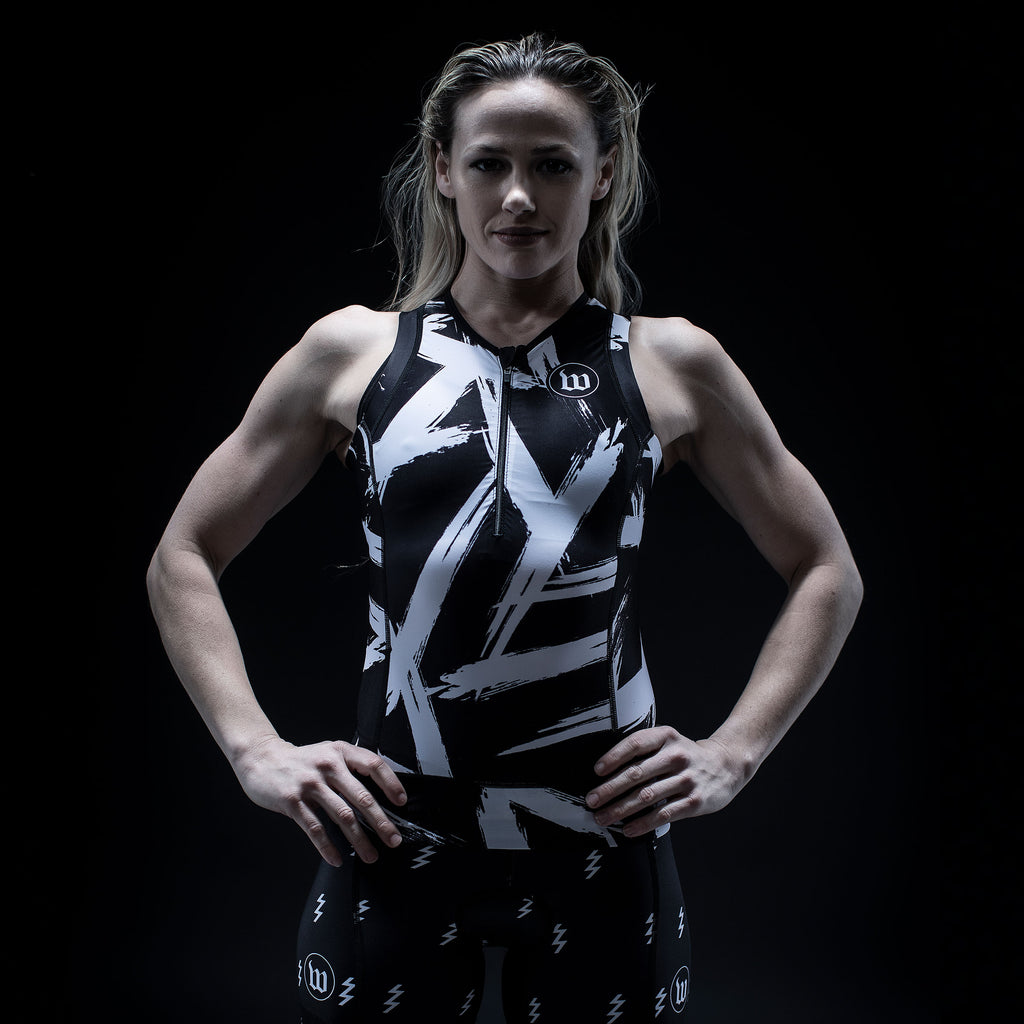 Women's Contender 2.0 Black + White Tri Top
