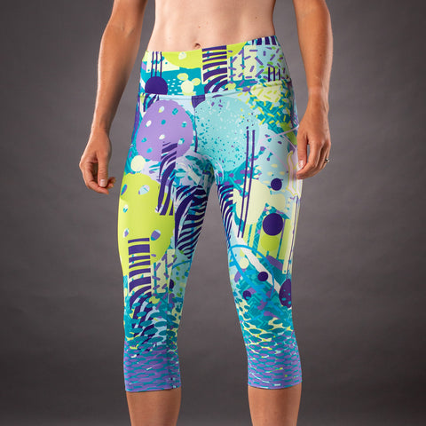 Pop Art Contender Womens Running Tight - Riviera