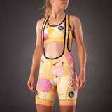 Pop Art Contender Womens Cycling Bib Short - Gold