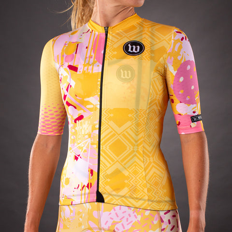 Pop Art Contender 2.0 Womens SS Cycling Jersey - Gold