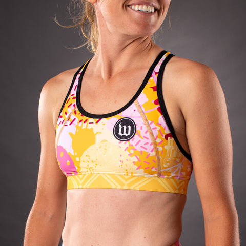 Pop Art Contender Womens Race Bra - Gold