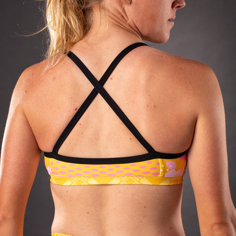 Pop Art Contender Women's Triple Threat Sport Top - Gold