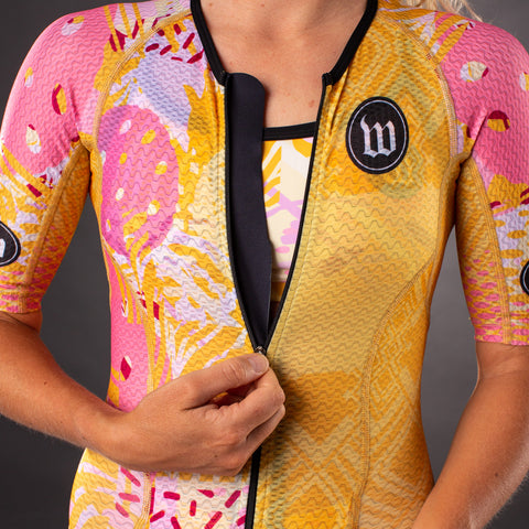 Women's Pop Art Gold Champion Tri Suit