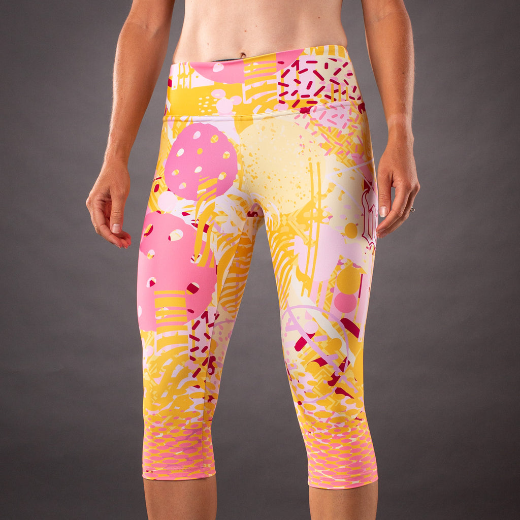 Pop Art Contender Womens Running Tight - Gold