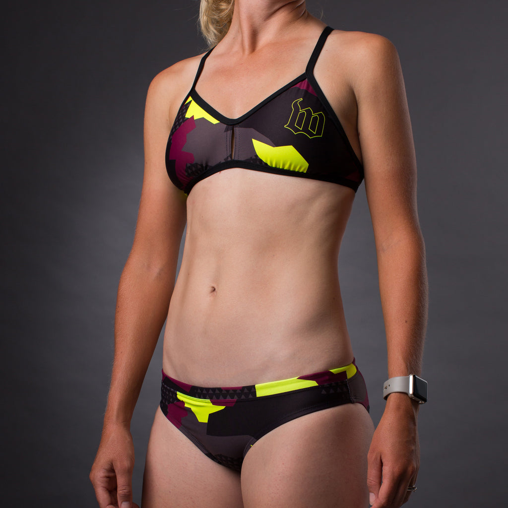 Women's Urban Assault Maroon/Yellow Triangle Bikini Top