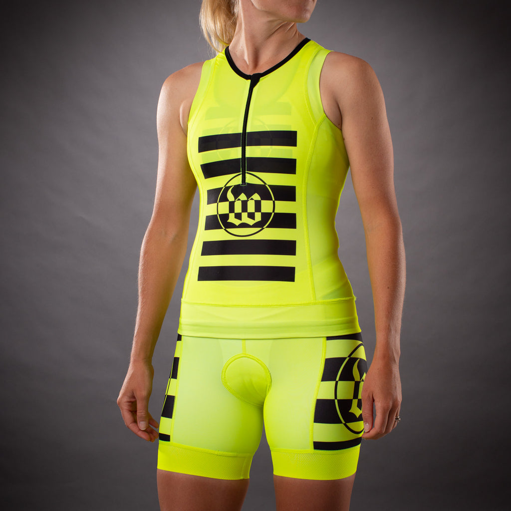 Women's Flash Yellow Contender Tri Top