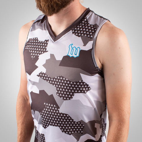 Men's Urban Assault Running Singlet - Snow Camo-hover