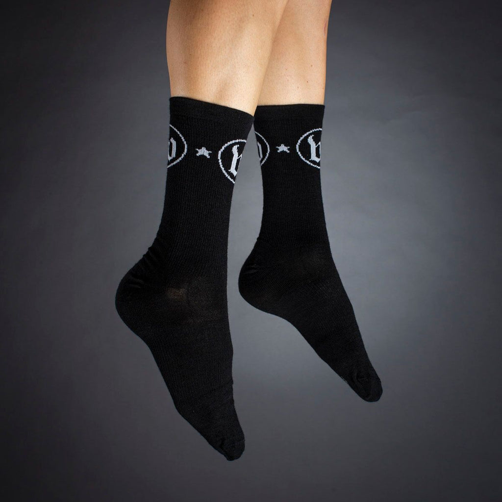 "The W ""Woolies"" Black Wool Socks"