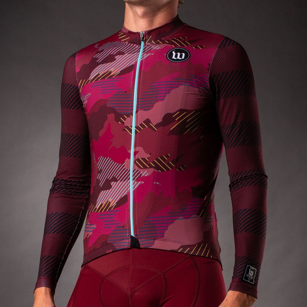 Men's Recon Contender 2.0 Long Sleeve Cycling Jersey - Cranberry
