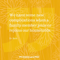 We have some new complications when a family member joins or rejoins our households.