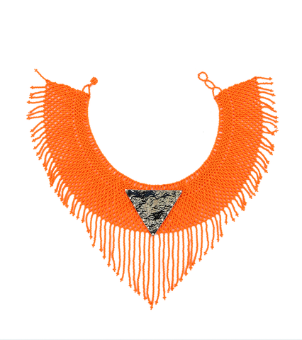 Maju Curated Bold | Tangerine Fringed Necklace