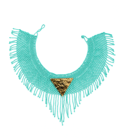 Maju Curated Bold | Turquoise Fringed Necklace