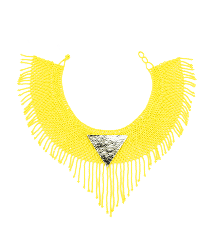 Maju Curated Bold | Yellow Fringed Necklace
