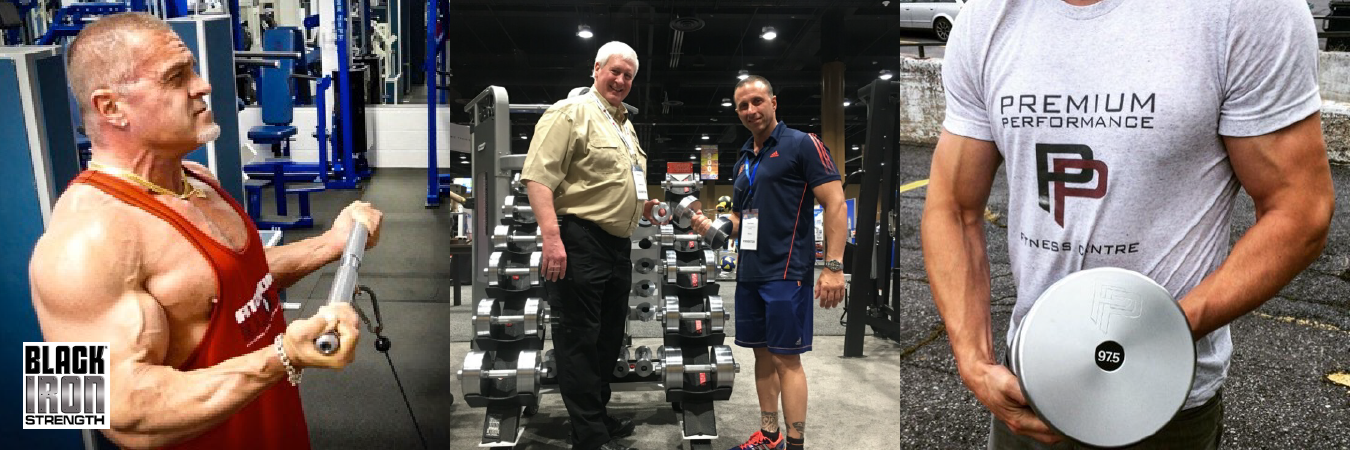A gym patron using some of Black Iron Strength's® commercial strength equipment.