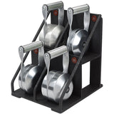 Side view of Four Solid Steel Kettlebells on Custom Rack