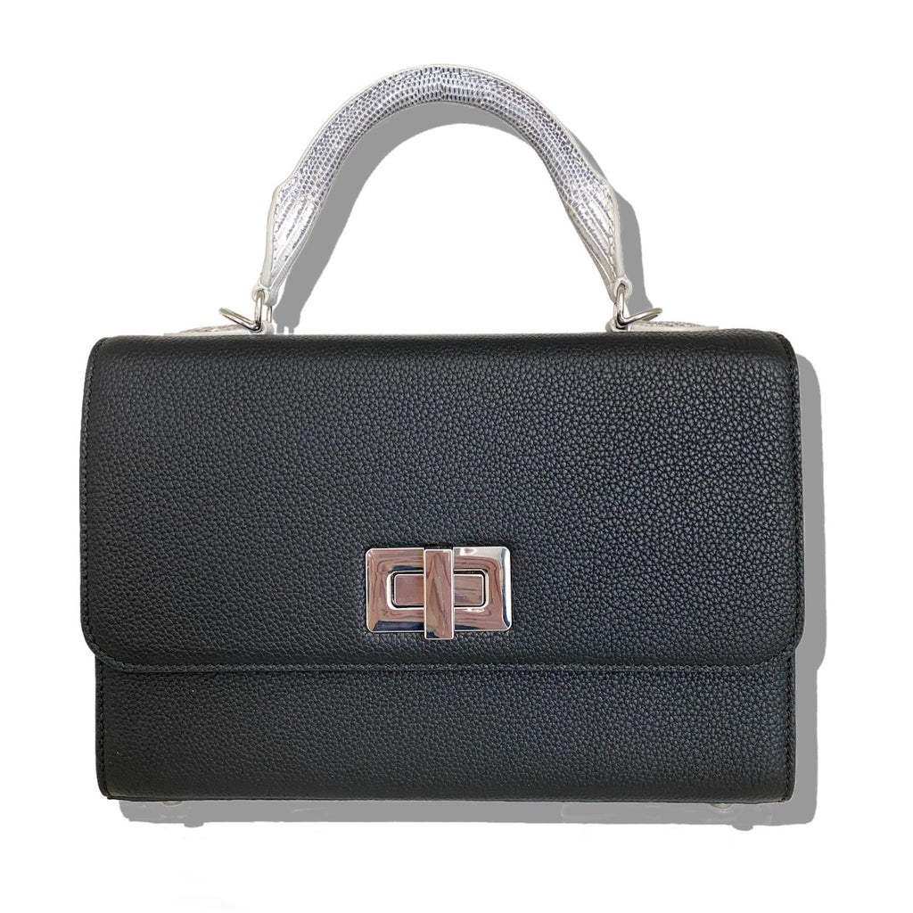 Forum top handle 25cm bag in calfskin and lizard