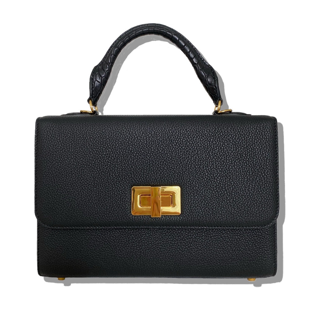Forum top handle 25cm bag in calfskin and alligator