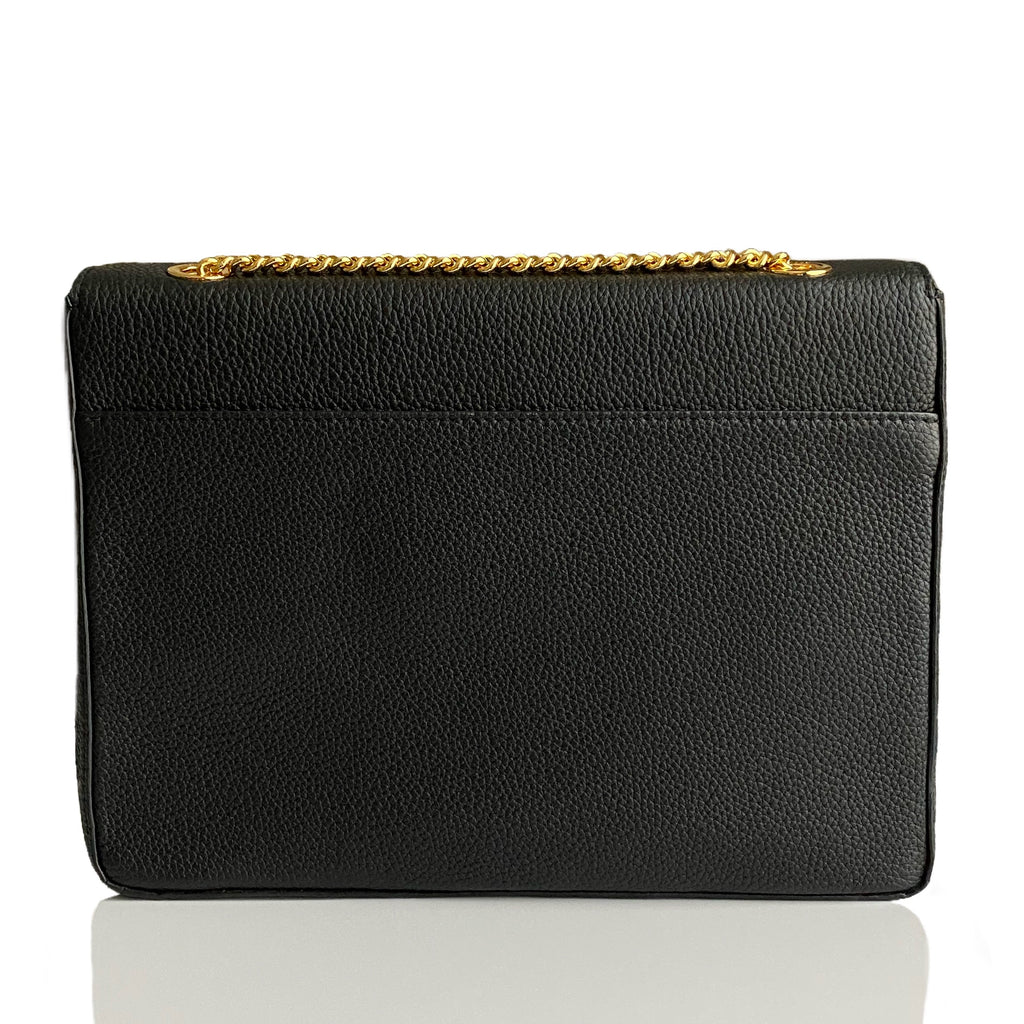Currency Flap Bag in Classic Black Calf Leather