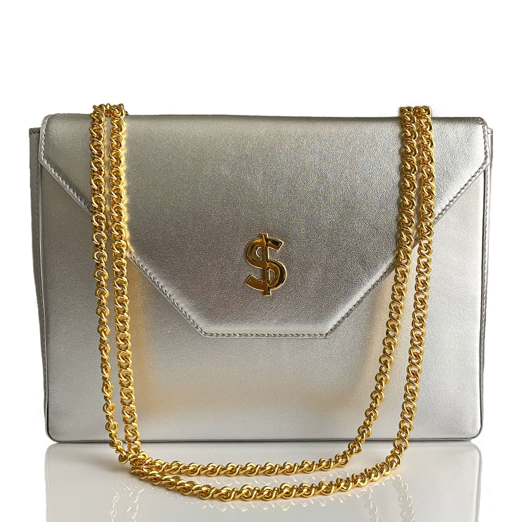 Currency Flap Bag in Frost Lamb Leather (Holiday Color)