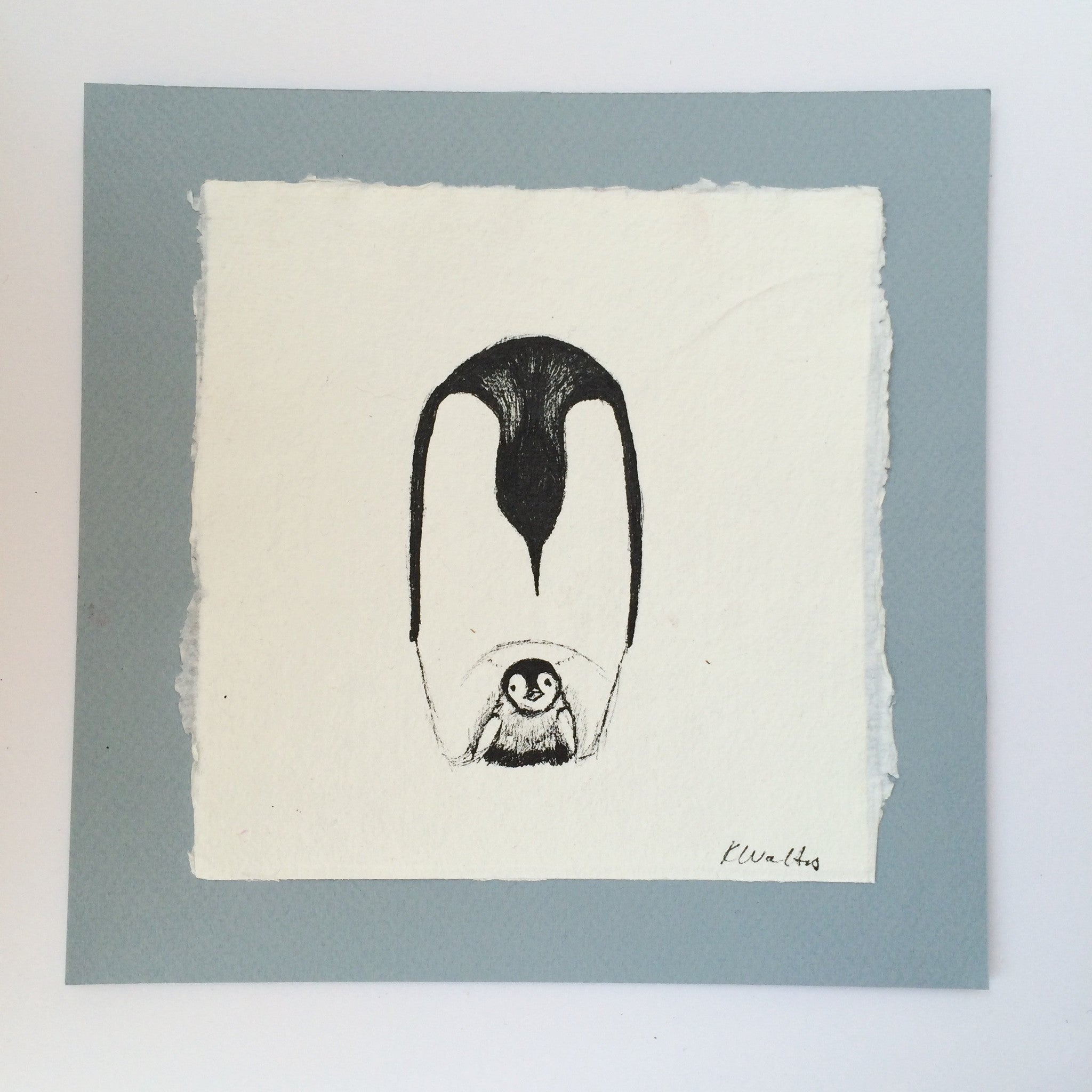 Penguin with Chick Ink Sketch