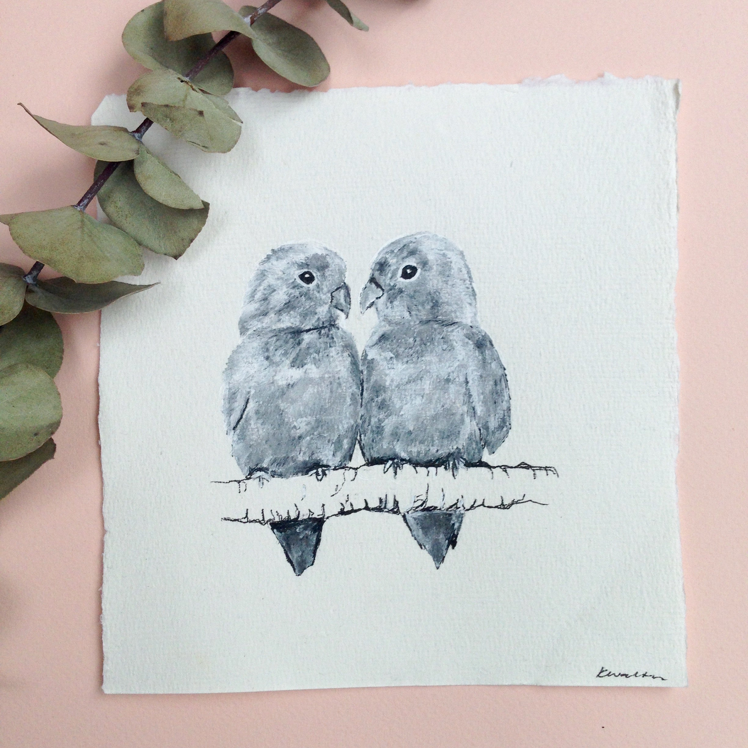 Lovebirds, Small Ink Drawing