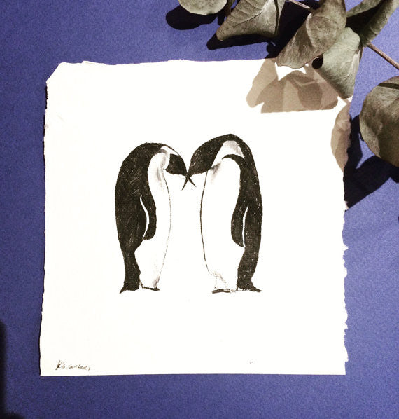Penguin Duo, Ink Drawing