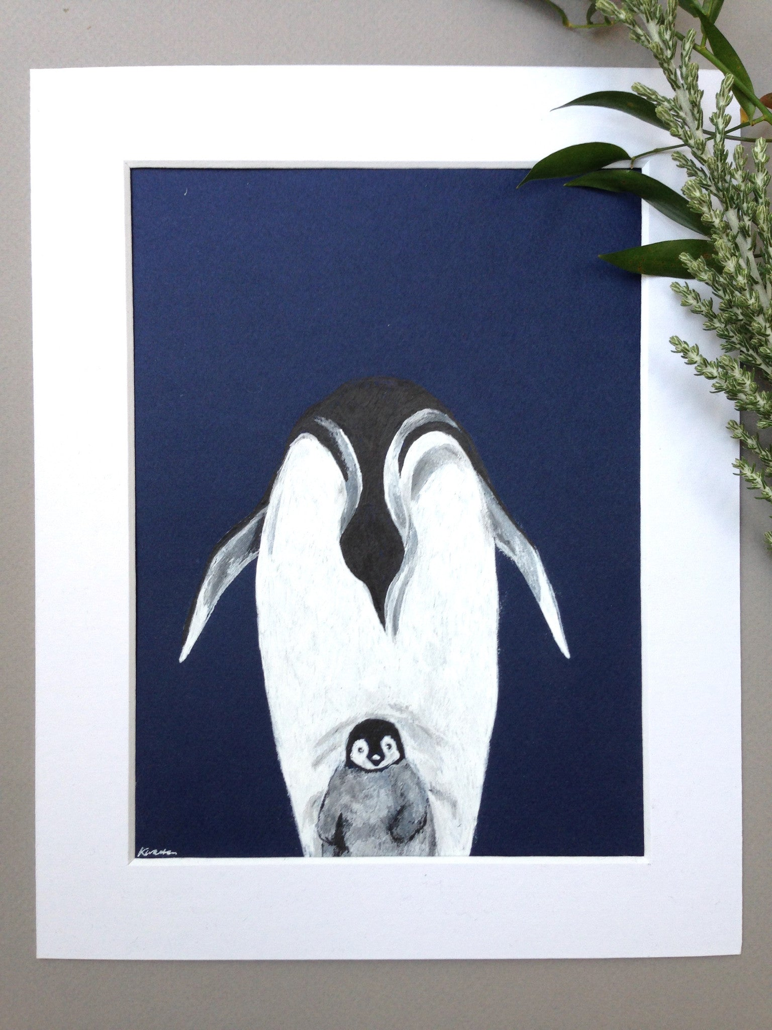 Parent and Child, Penguins, Original Ink Drawing